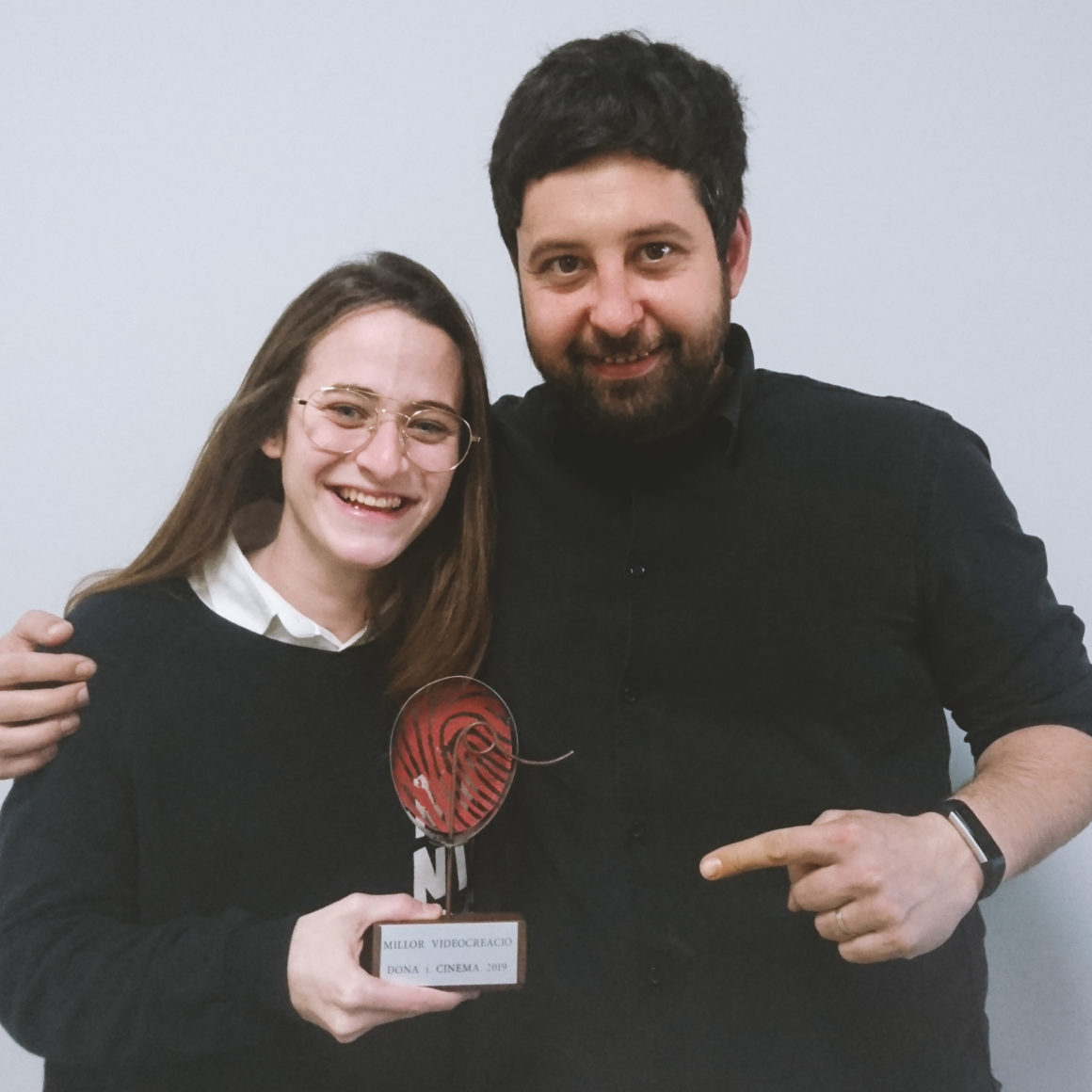 Judith Carmona, directora de Punto y Coma ambTerenci Corominas, profesor y tutor del proyecto